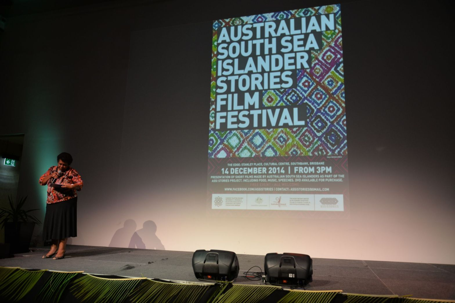 Joanne Warkill presents her speech at the ASSI Stories Film Festival 2014. Image by Jo-Anne Driessens