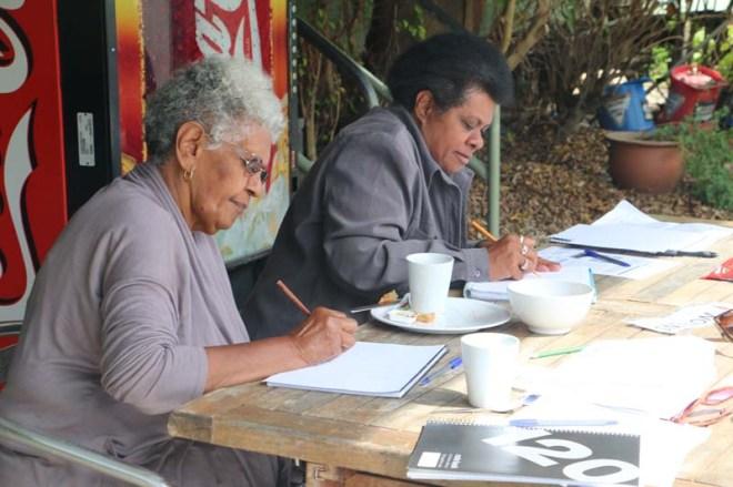 Aunty Valda and Joanne Warkill. ASSI Stories Stradbroke Island Workshops, September 2014.