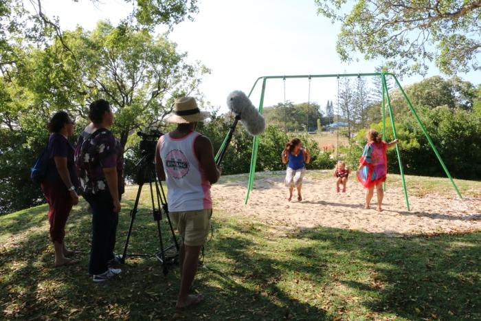 Shooting on Stradbroke Island for Danita Merrypor's film with Georgia Corowa