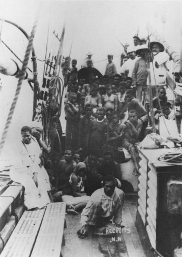 'South Sea Islanders on a labour vessel', Source: State Library of Queensland.