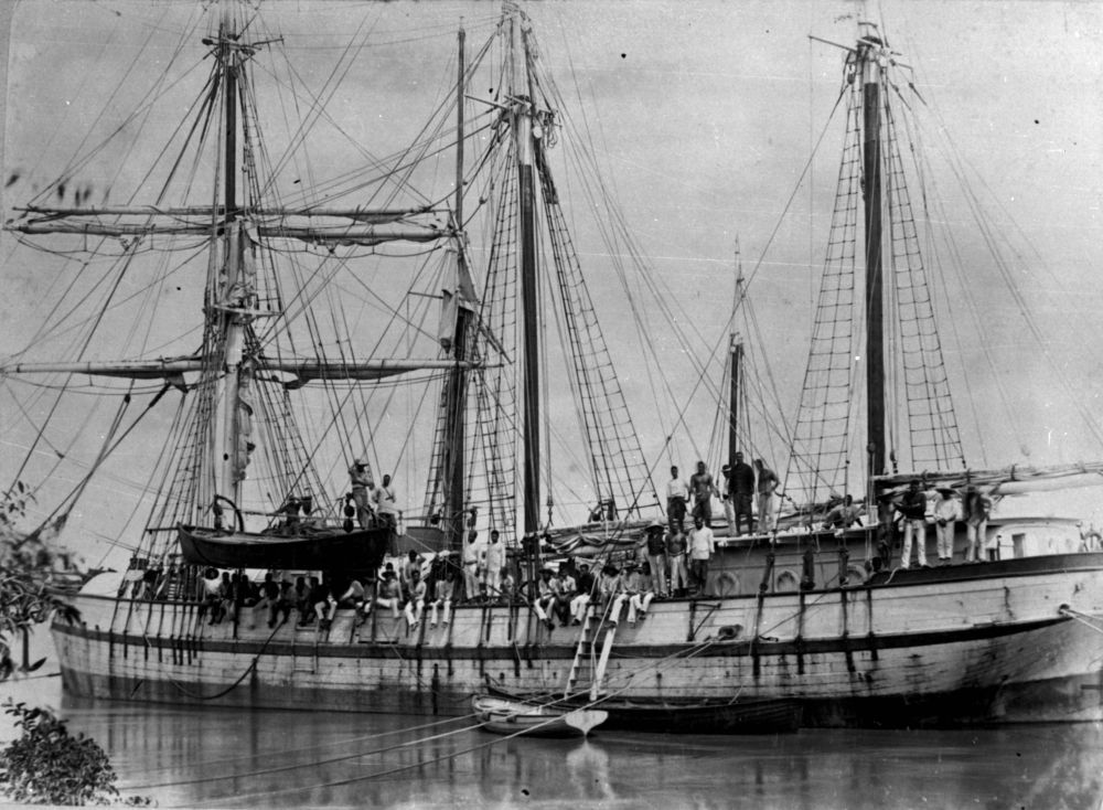 'South Sea Islanders on a sailing ship at Bundaberg', Source: State Library of Queensland.